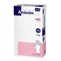 Rękawiczki ochronne lateksowe Ambulex i Ambulex P, białe, niesterylne 100szt.
