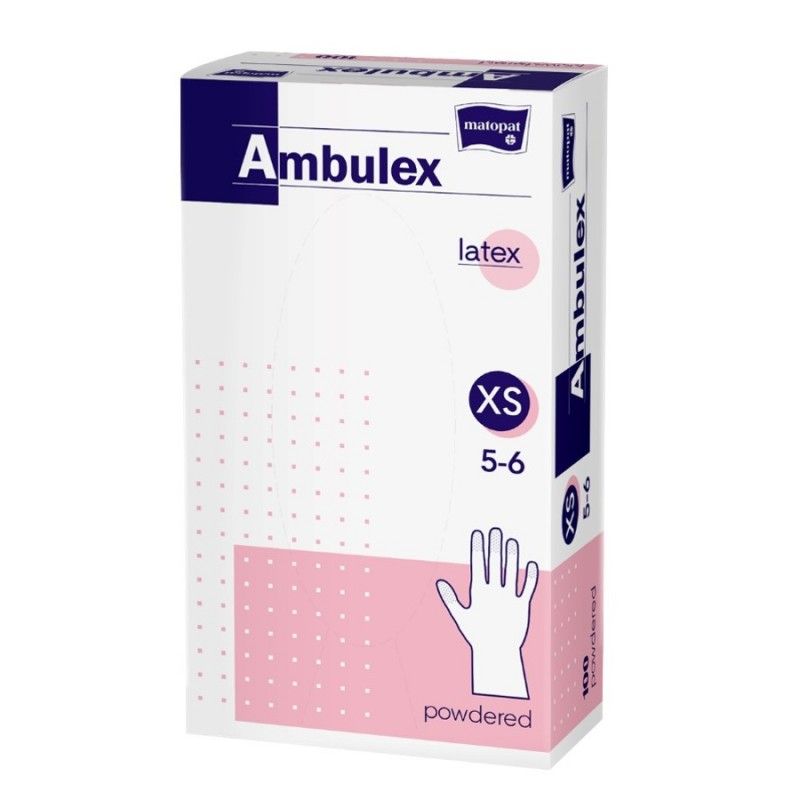 Rękawiczki ochronne lateksowe Ambulex, białe, niesterylne