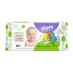 Bella Baby Happy chusteczki nasączone JEDWAB i BAWEŁNA 64 szt.