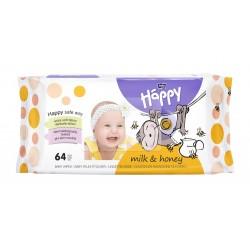 Bella Baby Happy chusteczki nasączone MLEKO i MIÓD 64 szt.