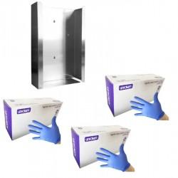 3 x Rękawiczki jednorazowe nitrylowe Unidem 200 szt. + Podajnik na rękawiczki jednorazowe INOX na 3 opak.  40% TANIEJ